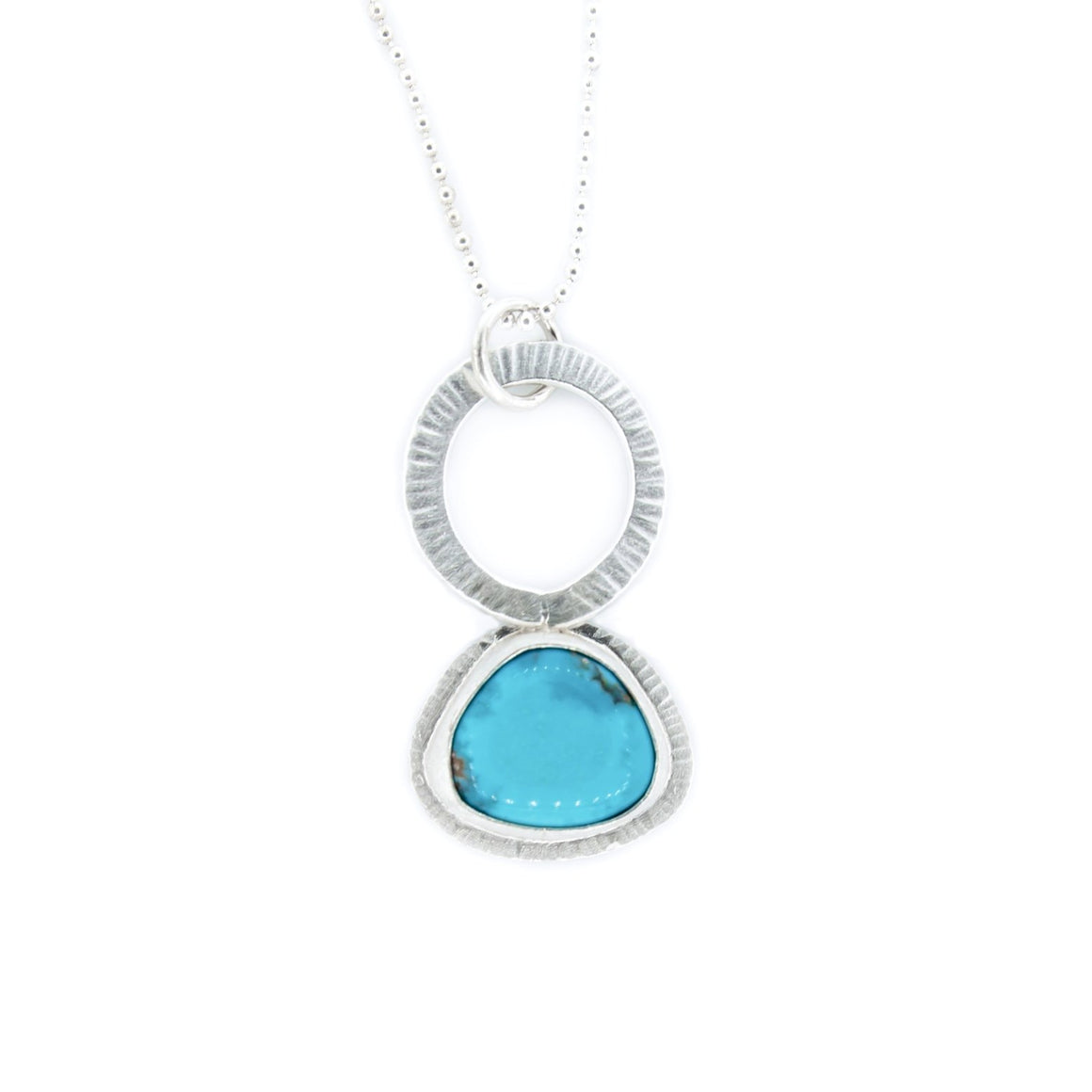 Turquoise and Silver Pendant by OSJ