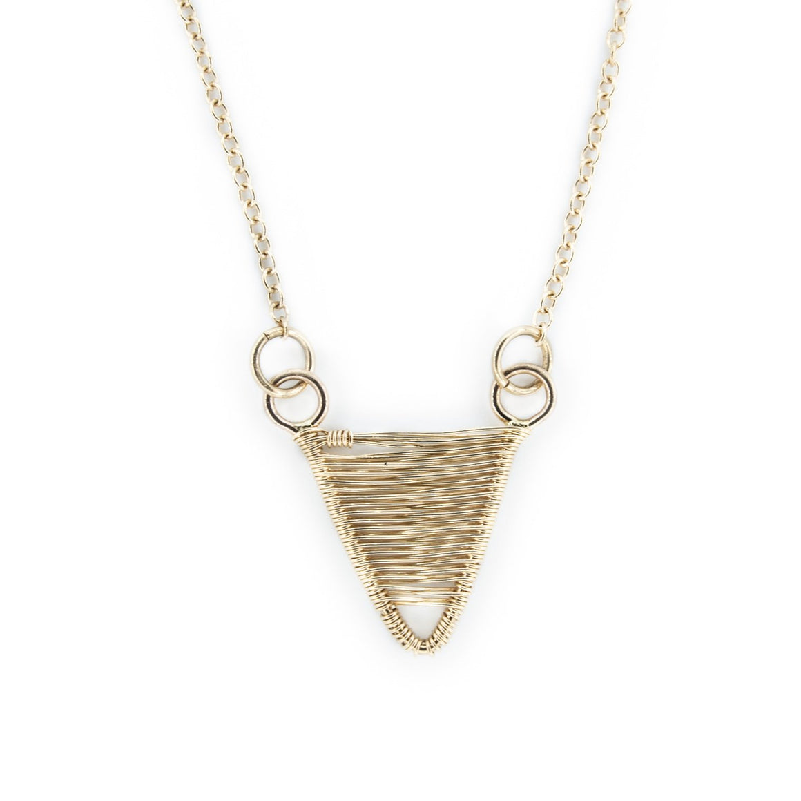 Woven 14k Gold Tiny Shield Necklace by Original Sin Jewelry