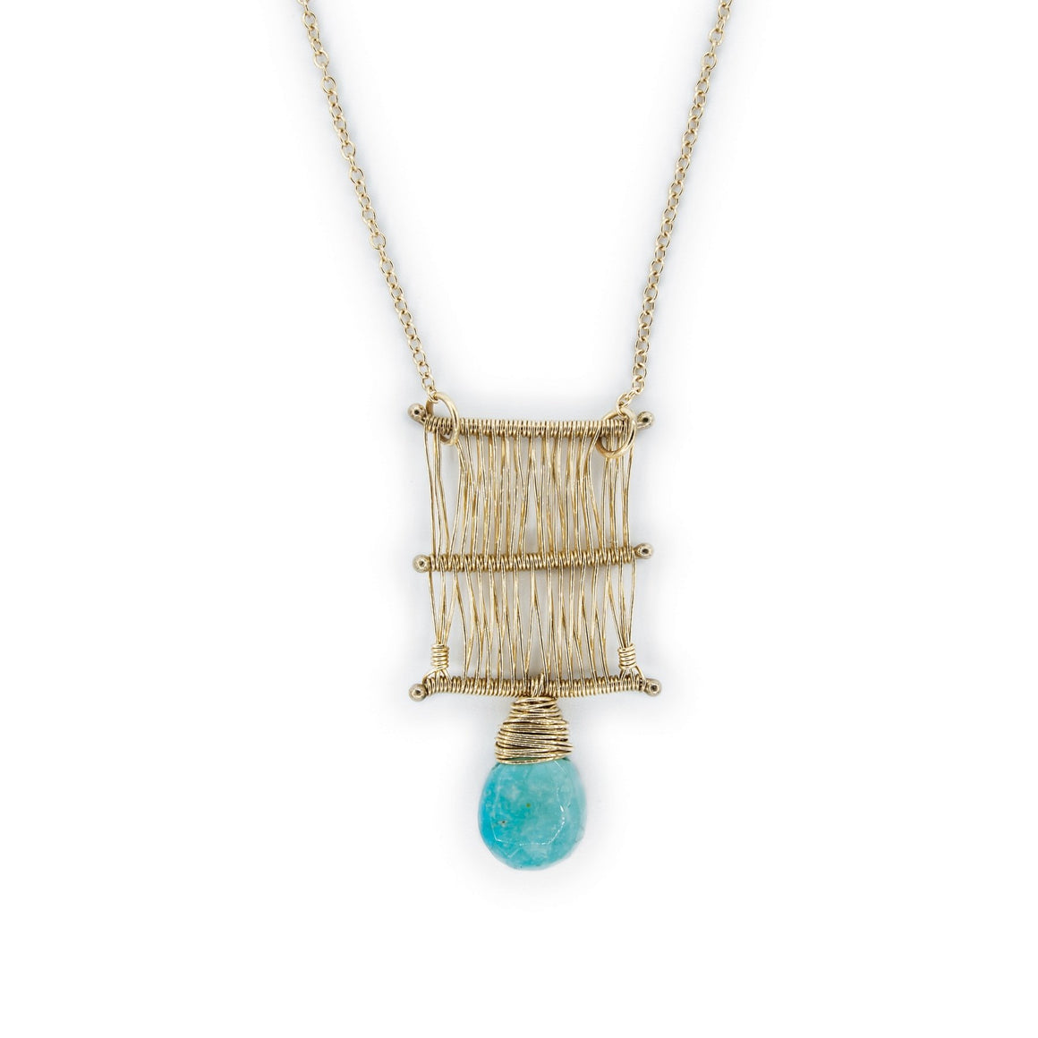 14k Gold and Turquoise Hand Woven Tapestry Necklace by Original Sin Jewelry