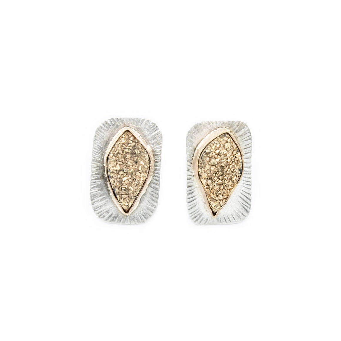 14k Gold and Silver Druze Stud Earrings by Original Sin Jewelry