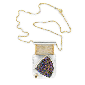 Druze, Tourmaline and Gold Woven Bridge Pendant by Original Sin Jewelry