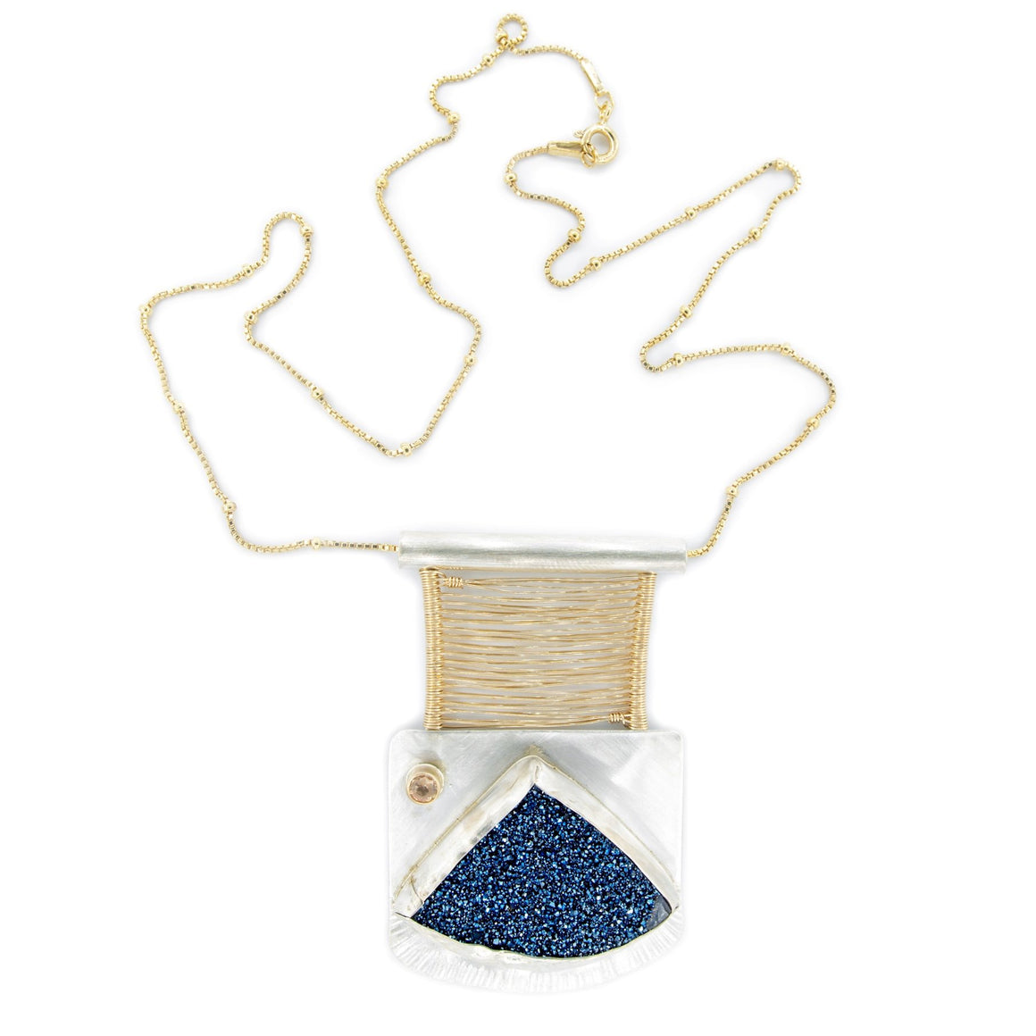 Blue Druze and 14k Gold Woven Bridge Pendant by Original Sin Jewelry