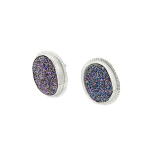 Radiance Texture on Silver Druze Studs by OSJ