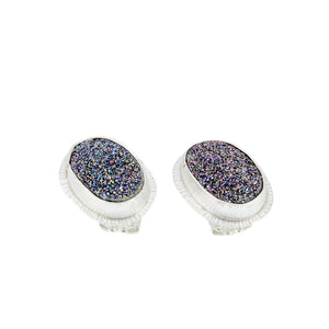 Fine Silver Studs with Titanium Pink Druze by Original Sin Jewelry