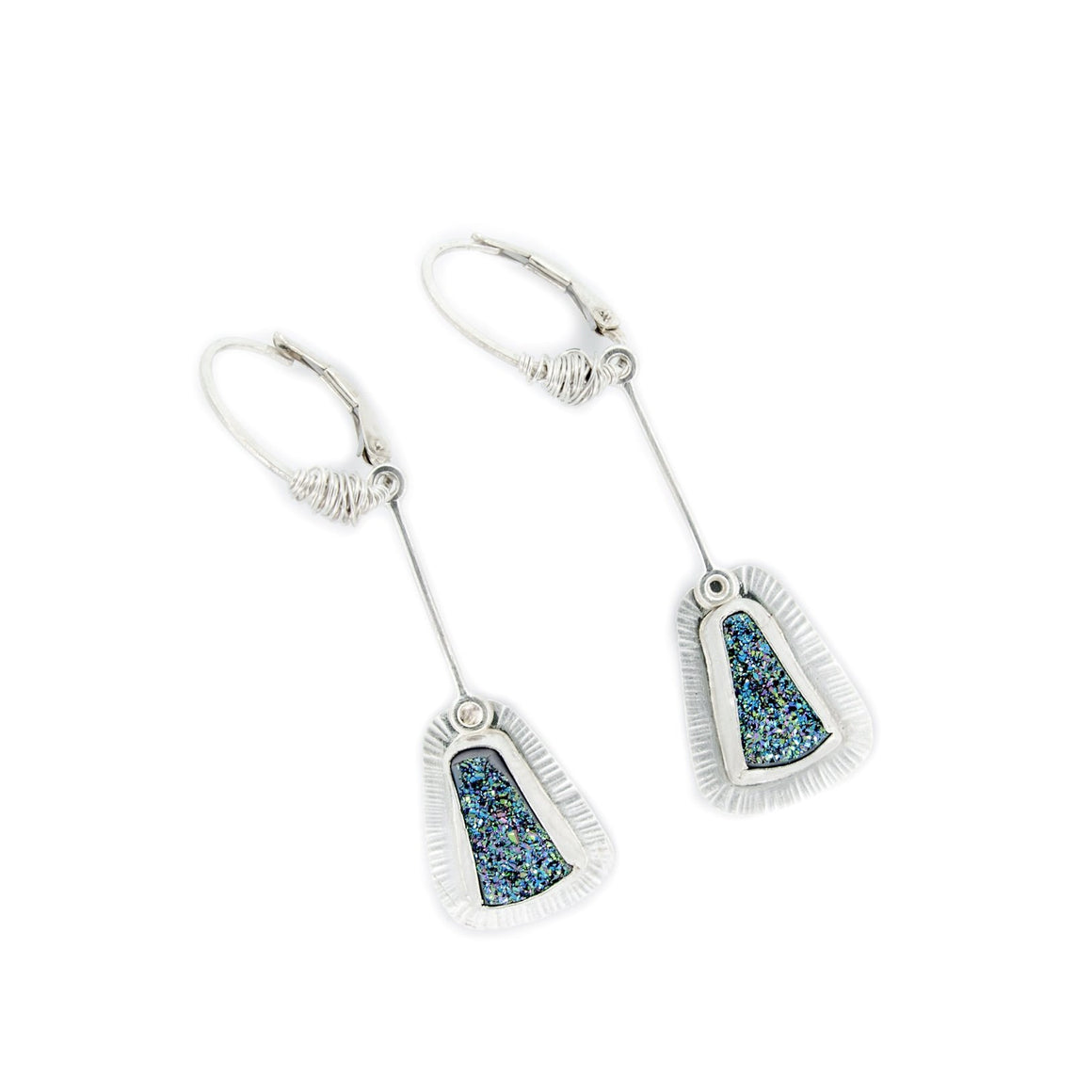 Blue Druze Pendulum Earrings by Original Sin Jewelry