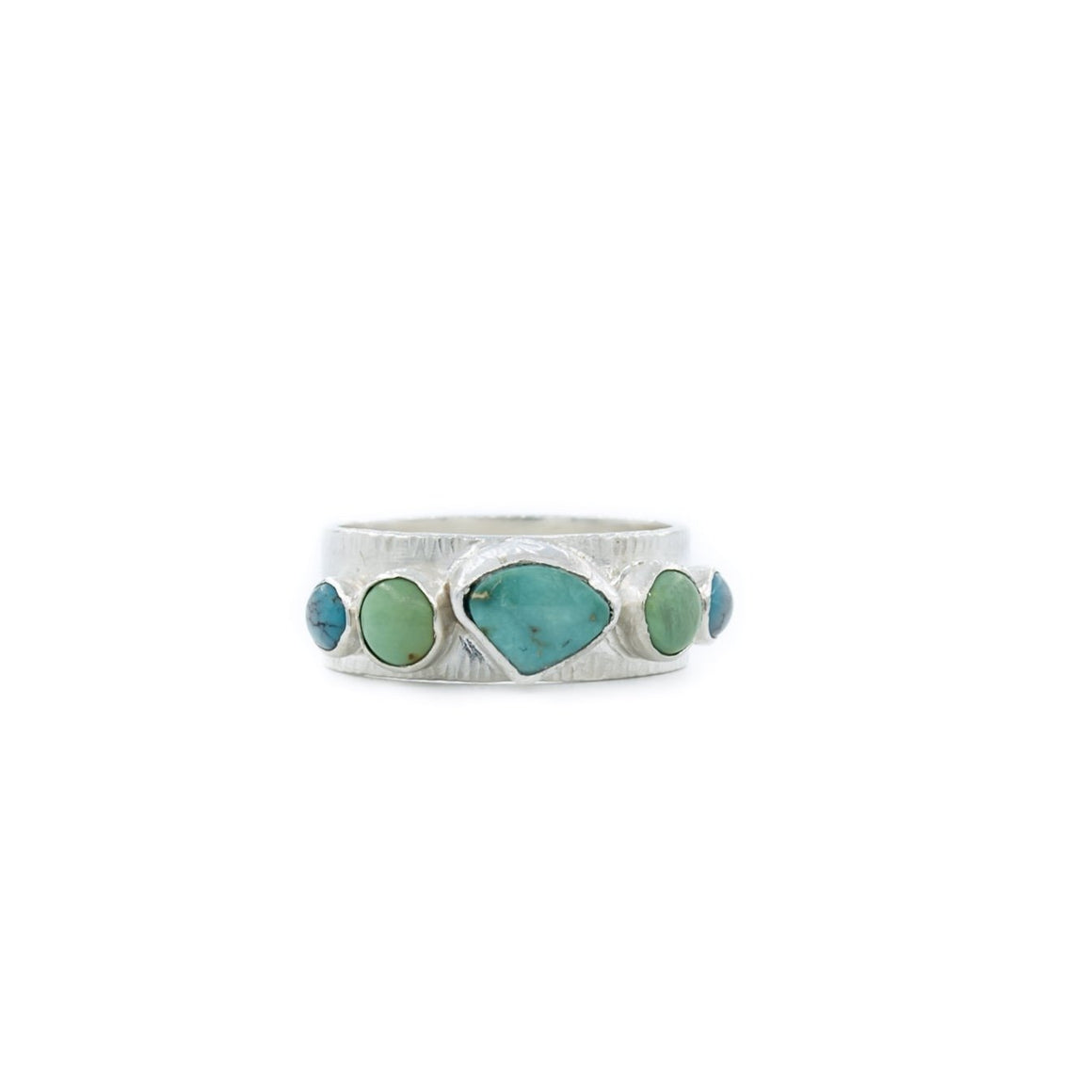 5 Stone Wedding Band Style Ring in Turquoise and Silver by Original Sin Jewelry