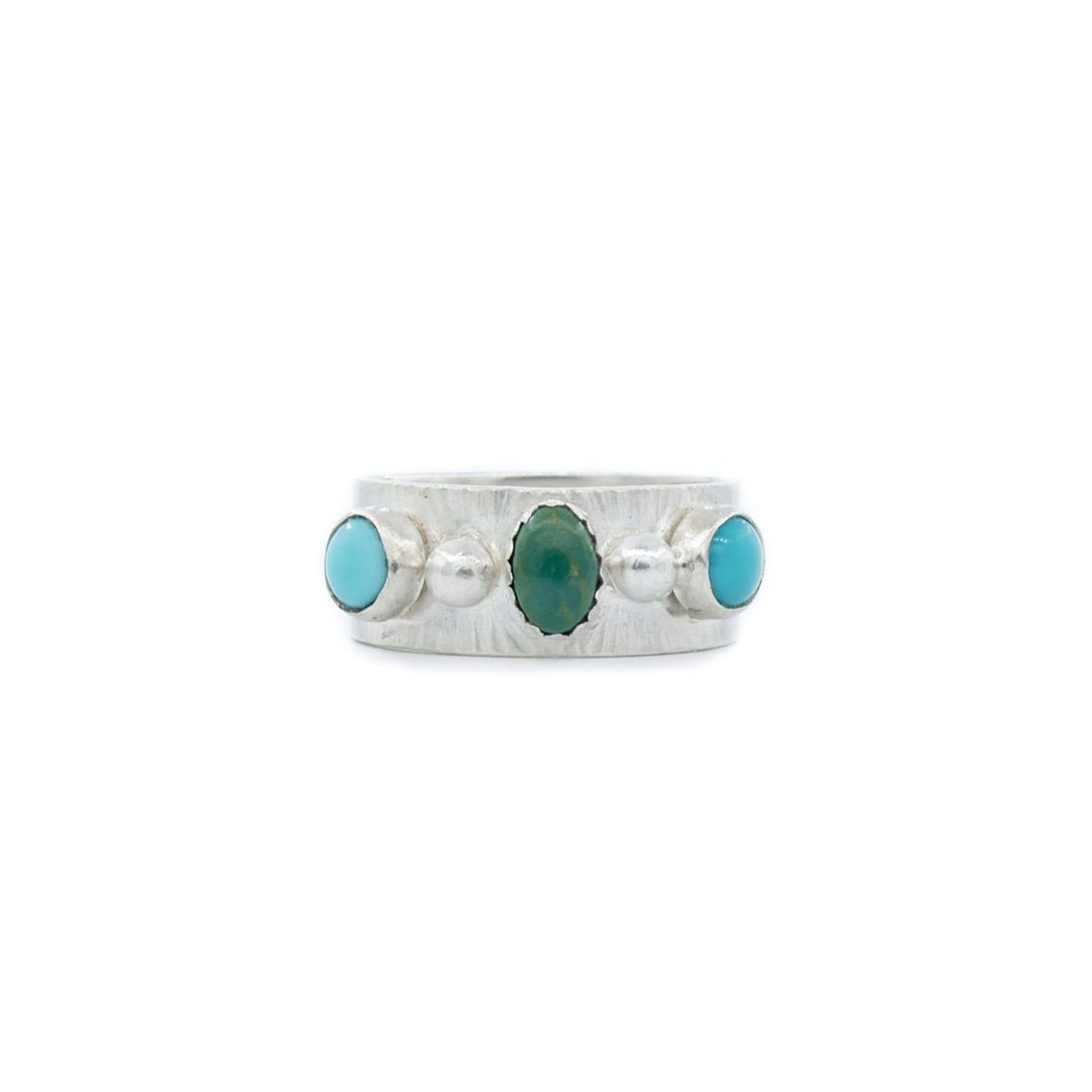 Green and Blue Turquoise and Silver Ladies Wedding Band Style Ring by OSJ
