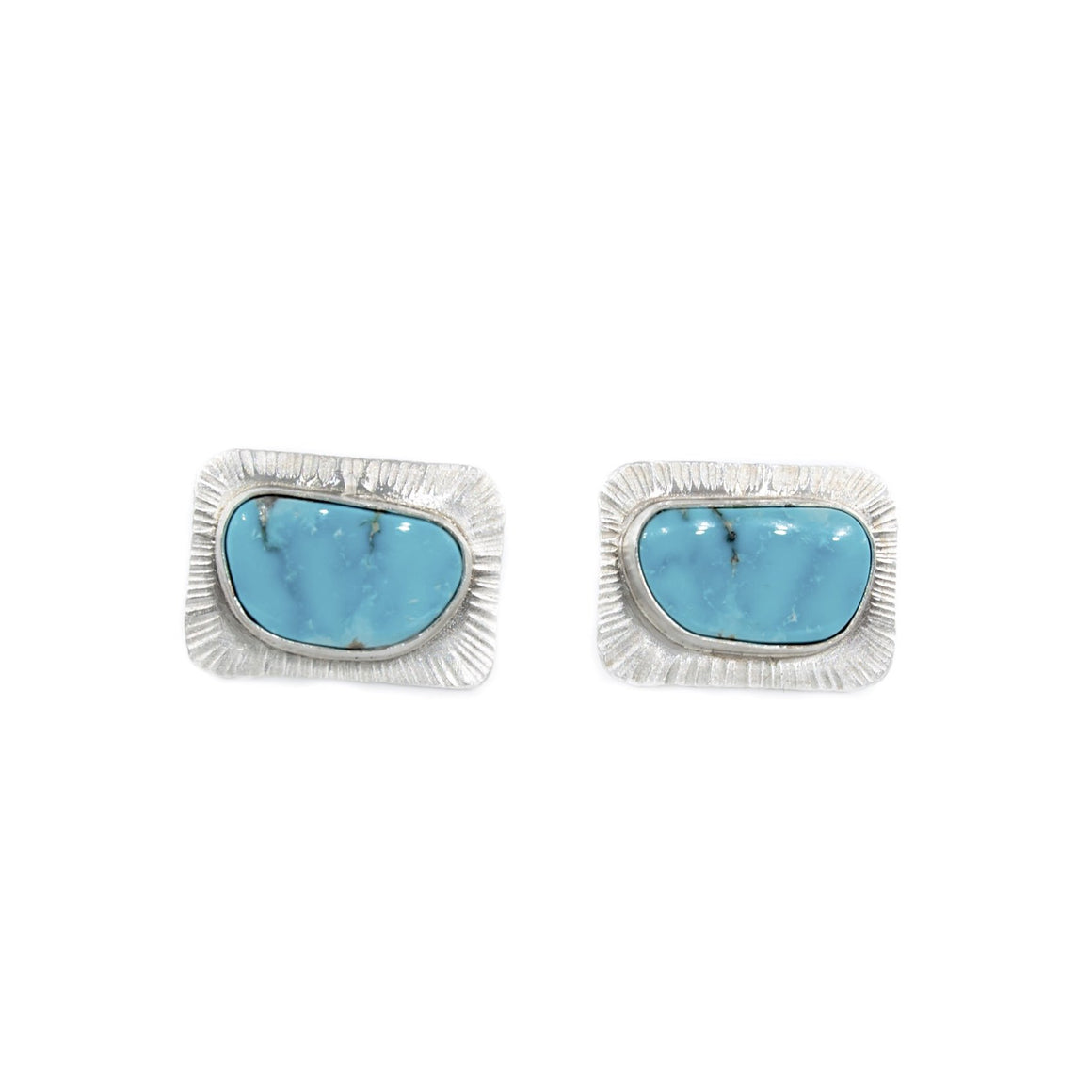 Turquoise and Silver Cuff Links by Original Sin Jewelry