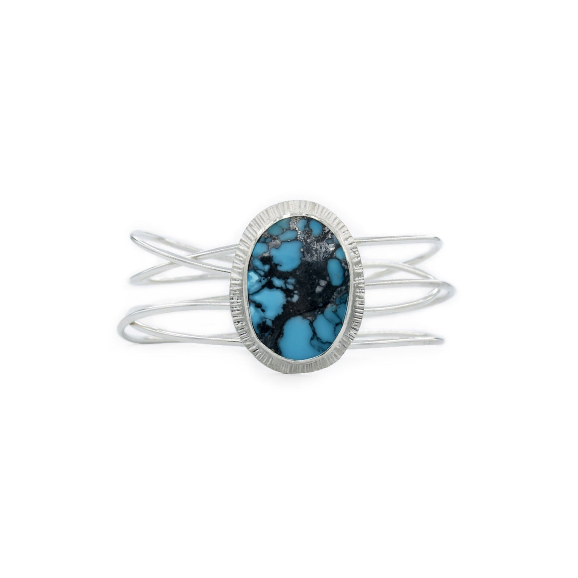 Turquoise and Silver Nest Cuff by Original Sin Jewelry