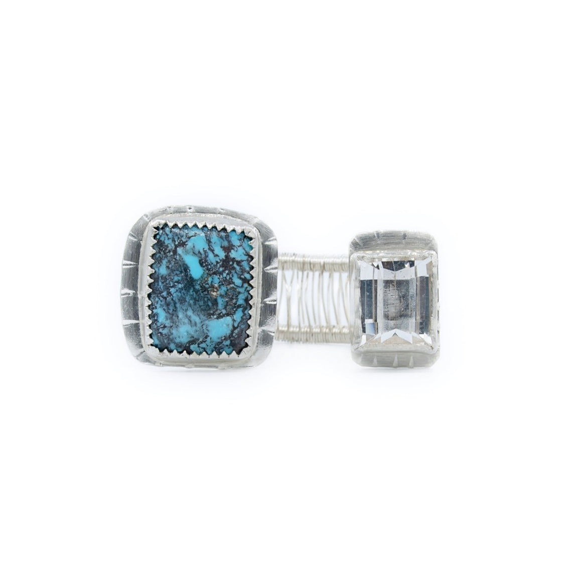 Turquoise, Silver and White Topaz Woven Ring by Original Sin Jewelry