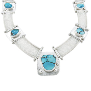 Dharma - 6 Stone Sierra Nevada Turquoise Woven and Hinged Neckpiece
