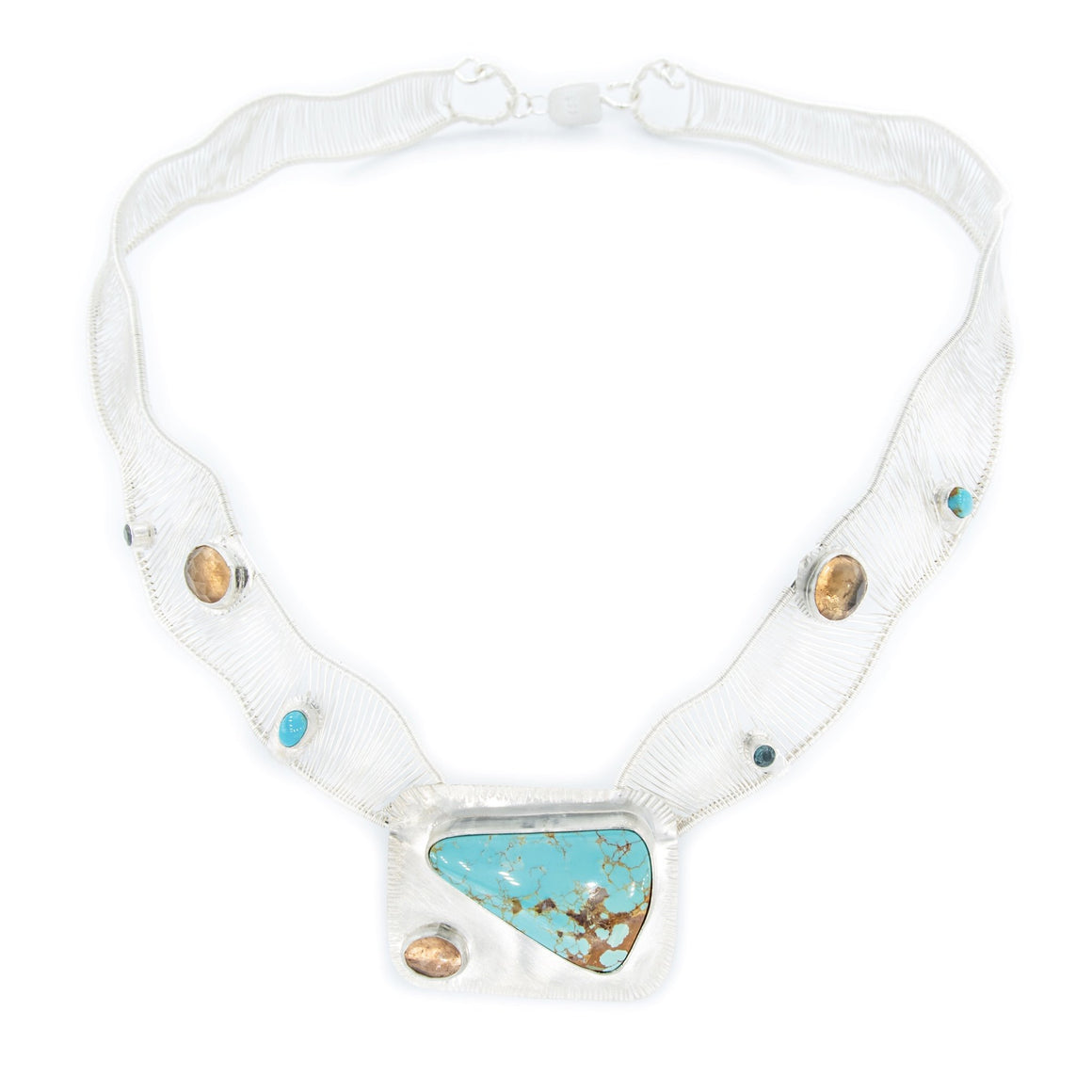 Royston Turquoise Woven Neck Piece by Original Sin Jewelry