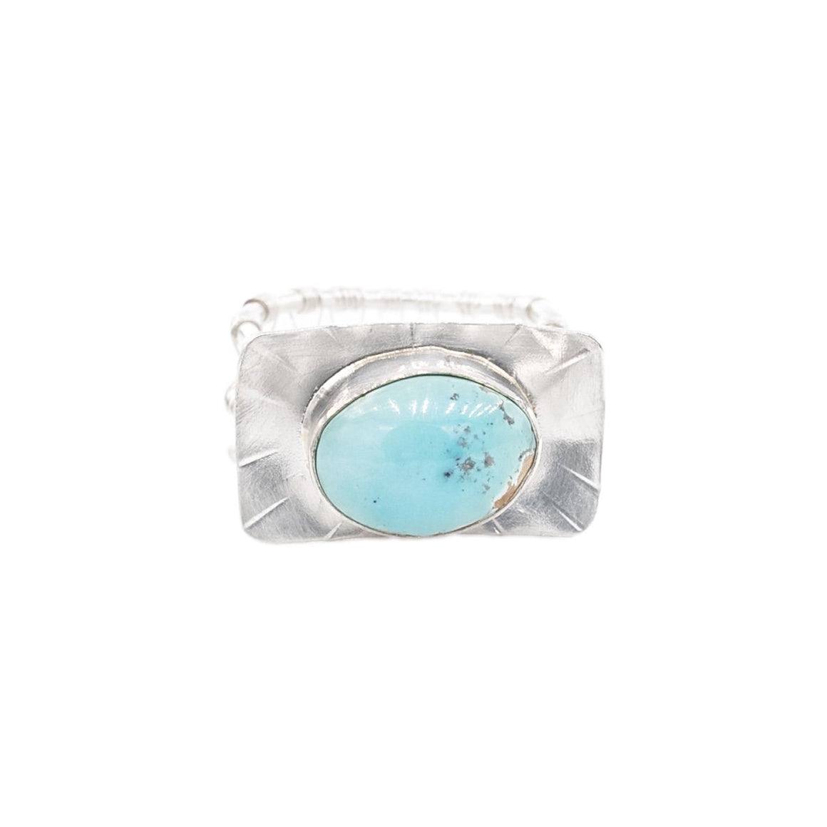 Classic Turquoise and Silver Ring, Woven Nest Band by Original Sin Jewelry