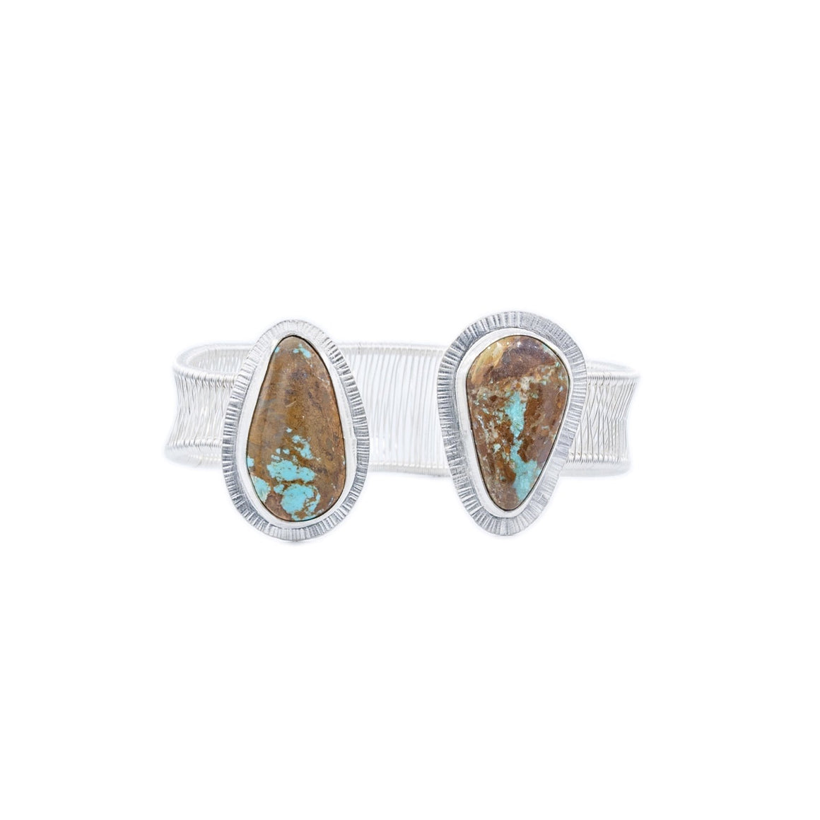Royston Boulder Turquoise Woven Silver Cuff by Original Sin Jewelry