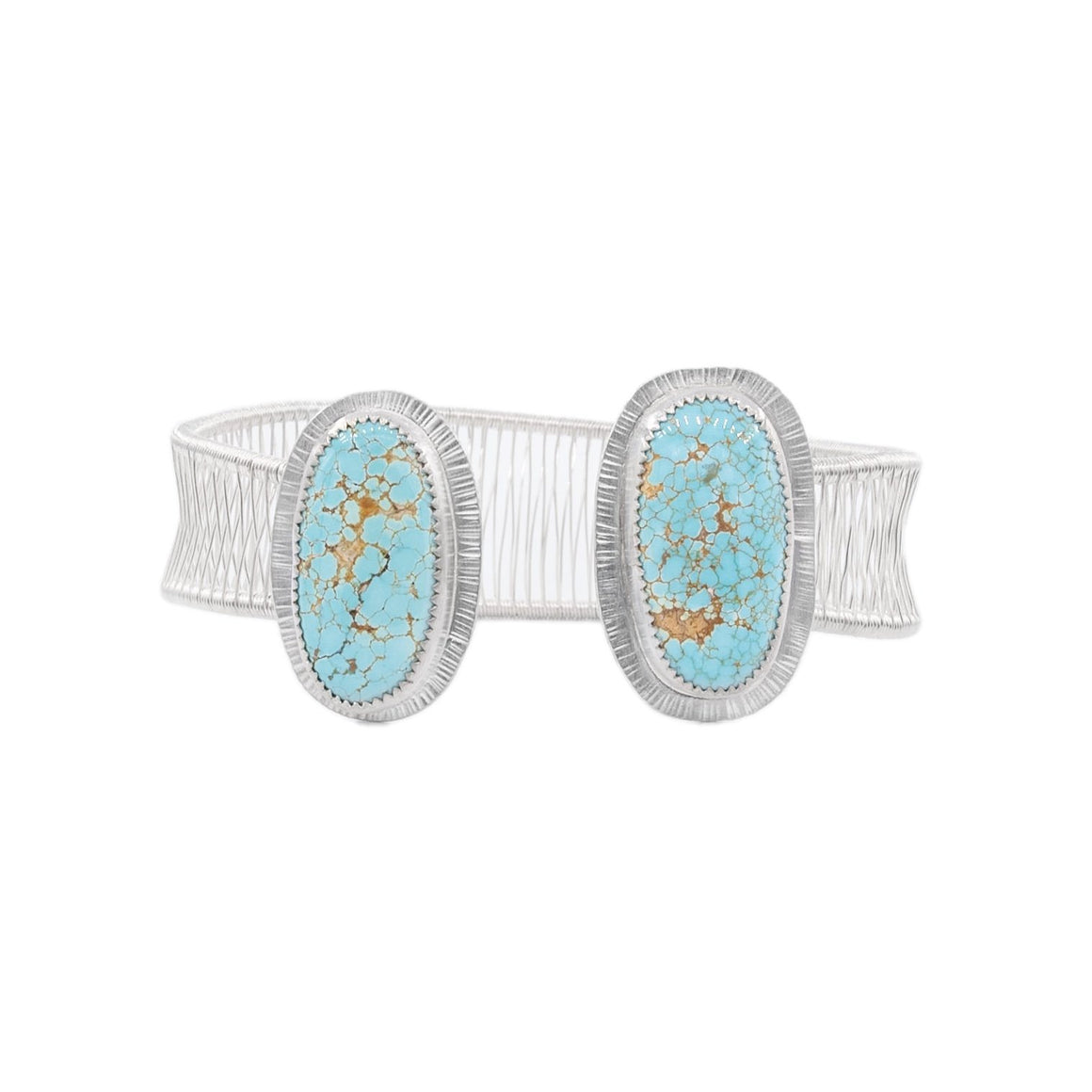 #8 Mine Turquoise Two Stone Woven Cuff by Original Sin Jewerly