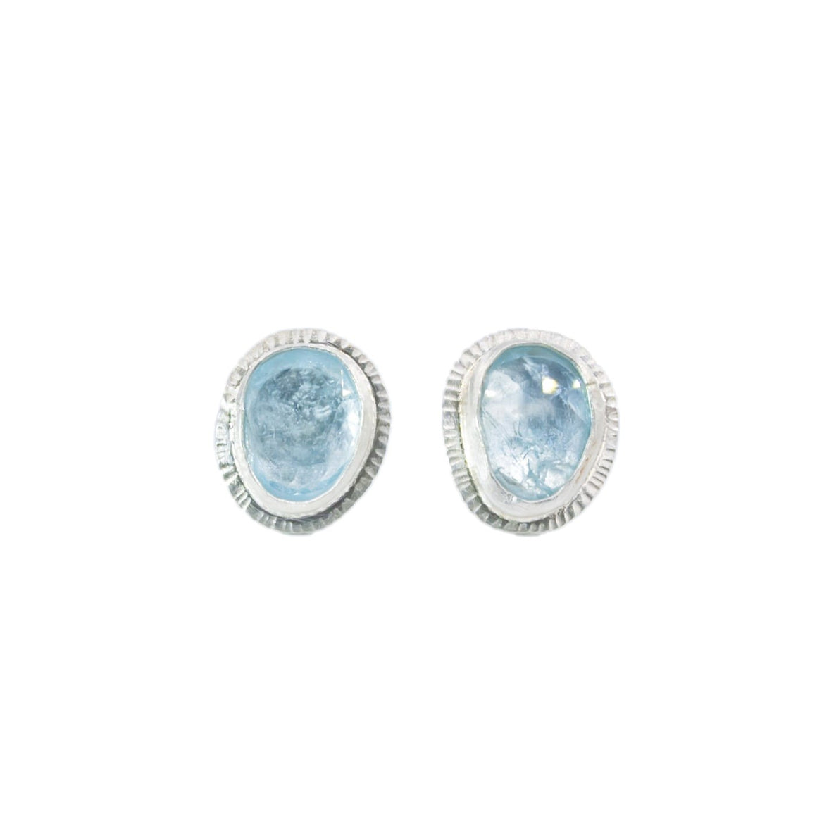 Rose Cut Aquamarine Stud Earrings by Original Sin Jewelry