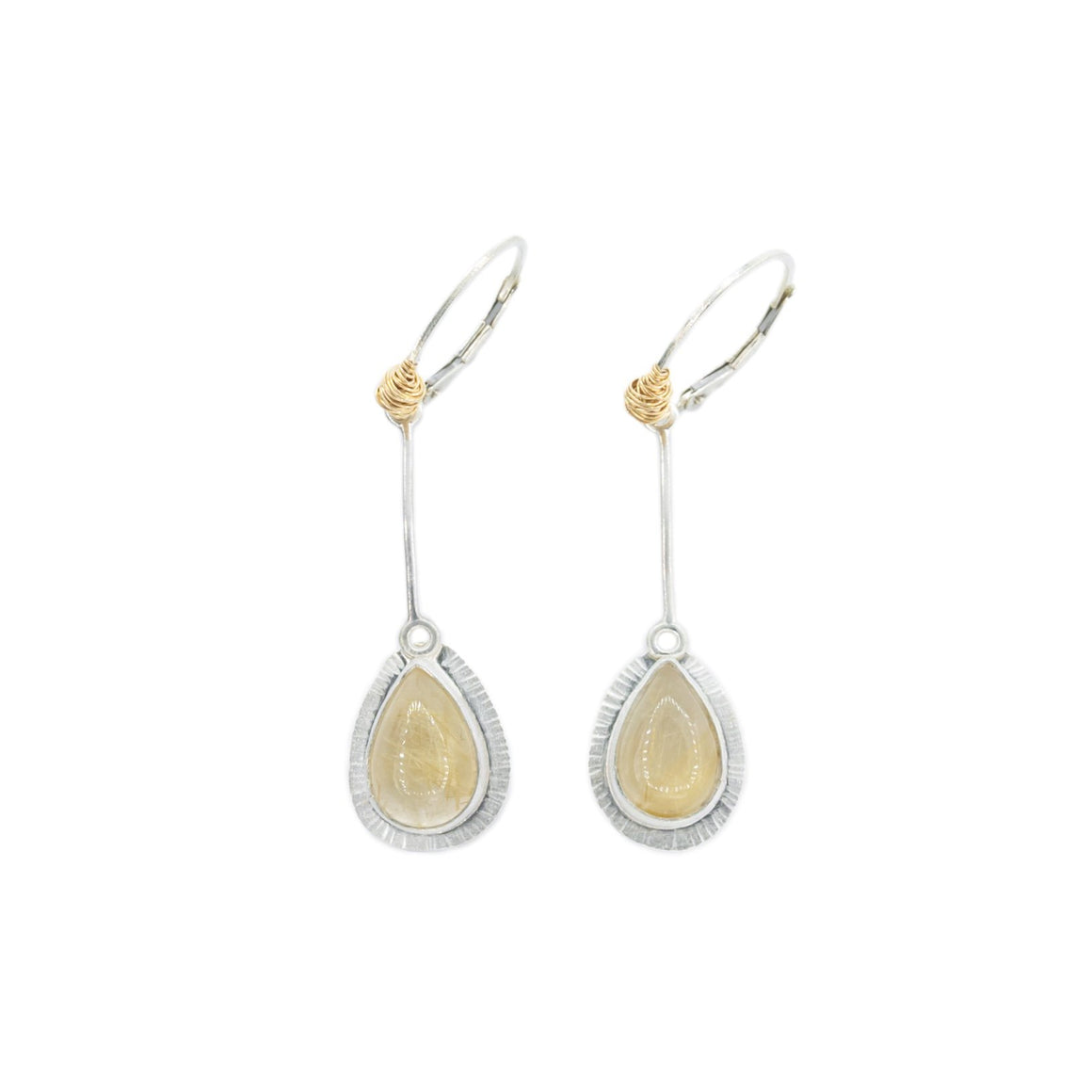 Rutilated Quartz Pendulum Earrings in Silver and Gold by Original Sin Jewelry