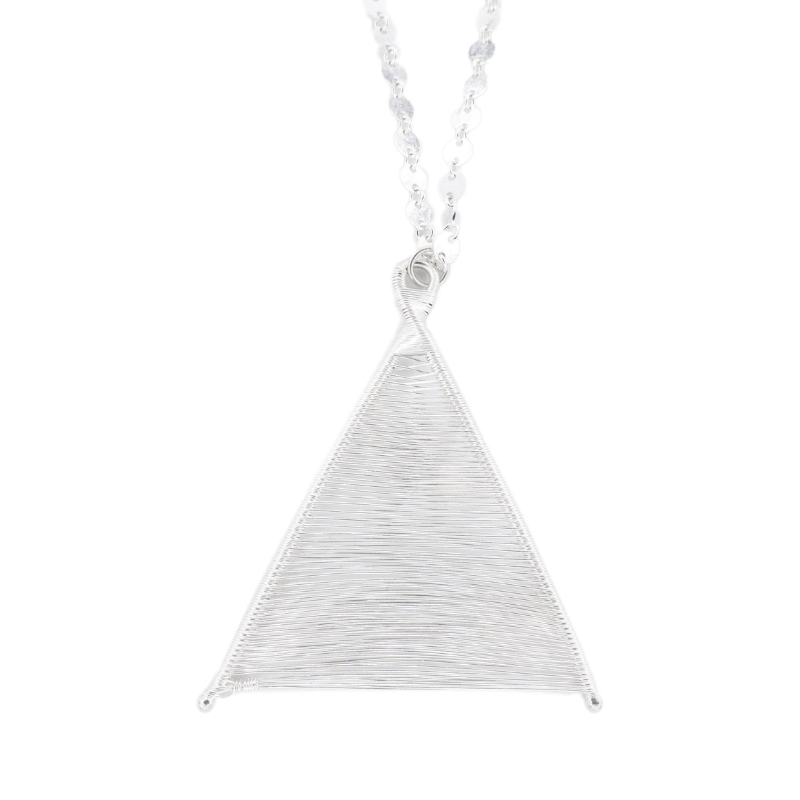 Hand Woven Silver Wishbone Pendant by Original Sin Jewelry