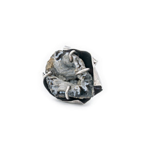 Entrapped Geode Ring Oxidized Silver Size 9 10 11 12 by Original Sin Jewelry in Tucson AZ