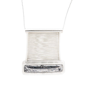 Native Silver Woven Fine Silver Bridge Pendant on Sterling Silver Necklace by Original Sin Jewelry