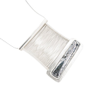 Mirror finish Native Silver Metallic cabochon set in fine silver Woven Wire Bridge Pendant by Margaret at OSJ in Tucson