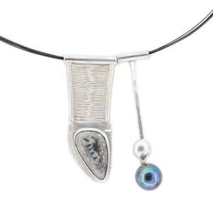 Native Silver Woven Bridge Pendant with Black Pearl Pendulum Pendant on Steel Cable Necklace by Original Sin Jewelry
