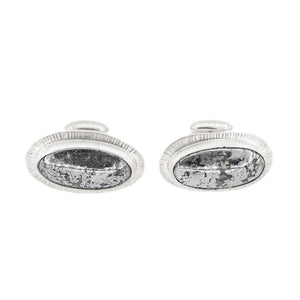 Rare Crystal Structure Native Silver set in Silver Cuff Links by OSJ in Tucson AZ