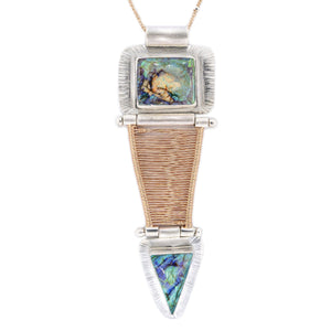Leopolda - Mixed Metal Double Opal Woven Rose Gold Hinged Bridge Necklace - Original Sin Jewelry