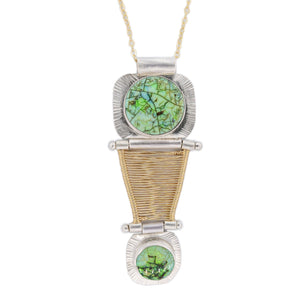 double opal hinged woven bridge necklace in silver and gold by Original Sin Jewerly
