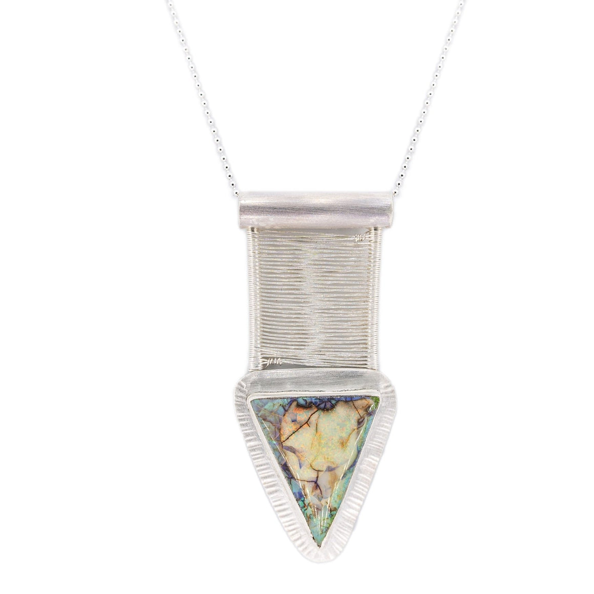 opal pendant by Original Sin Jewelry hand forged and woven with fine silver in OSJ's Bridge style