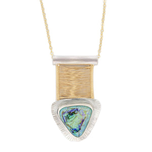 Opal Woven Gold Bridge Necklace Mixed Metal with Silver on 14k Gold fill chain by Original Sin Jewelry