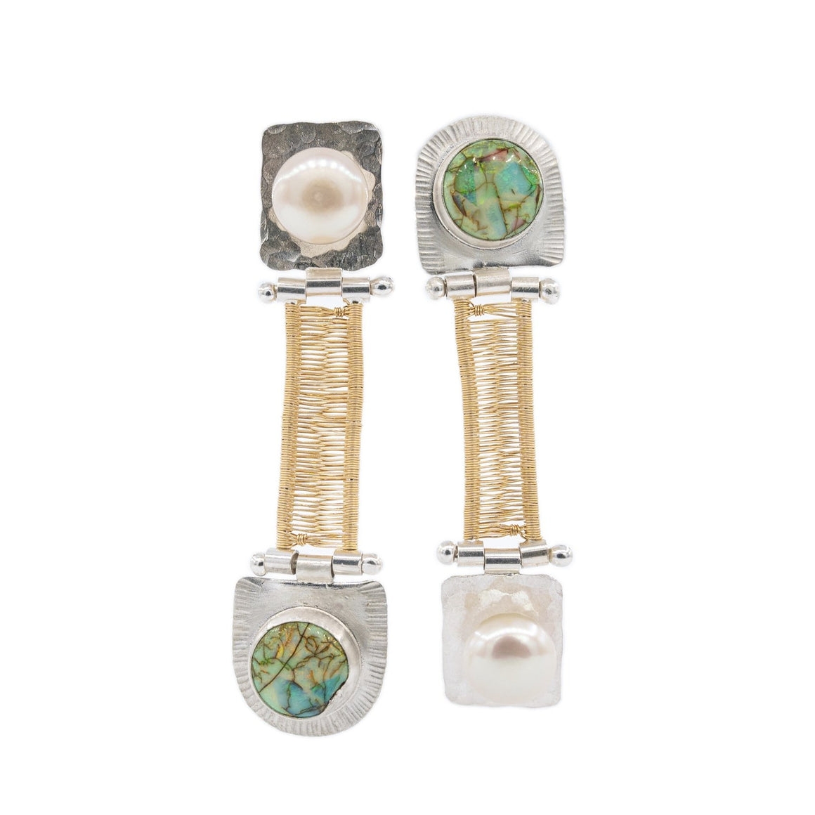 Pearl and Opal mixed metal silver and gold double hinged earrings hand woven by Original Sin Jewelry topsy turvy