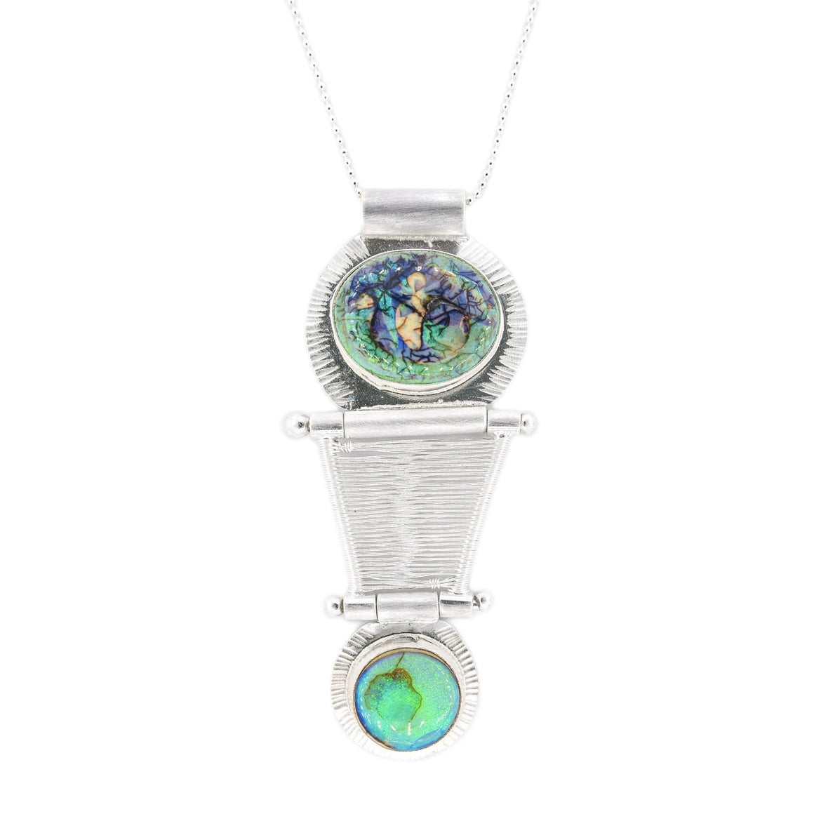 Double Monarch Opal Hinged Kinetic Bridge Pendant by Original Sin Jewelry Silver Necklace