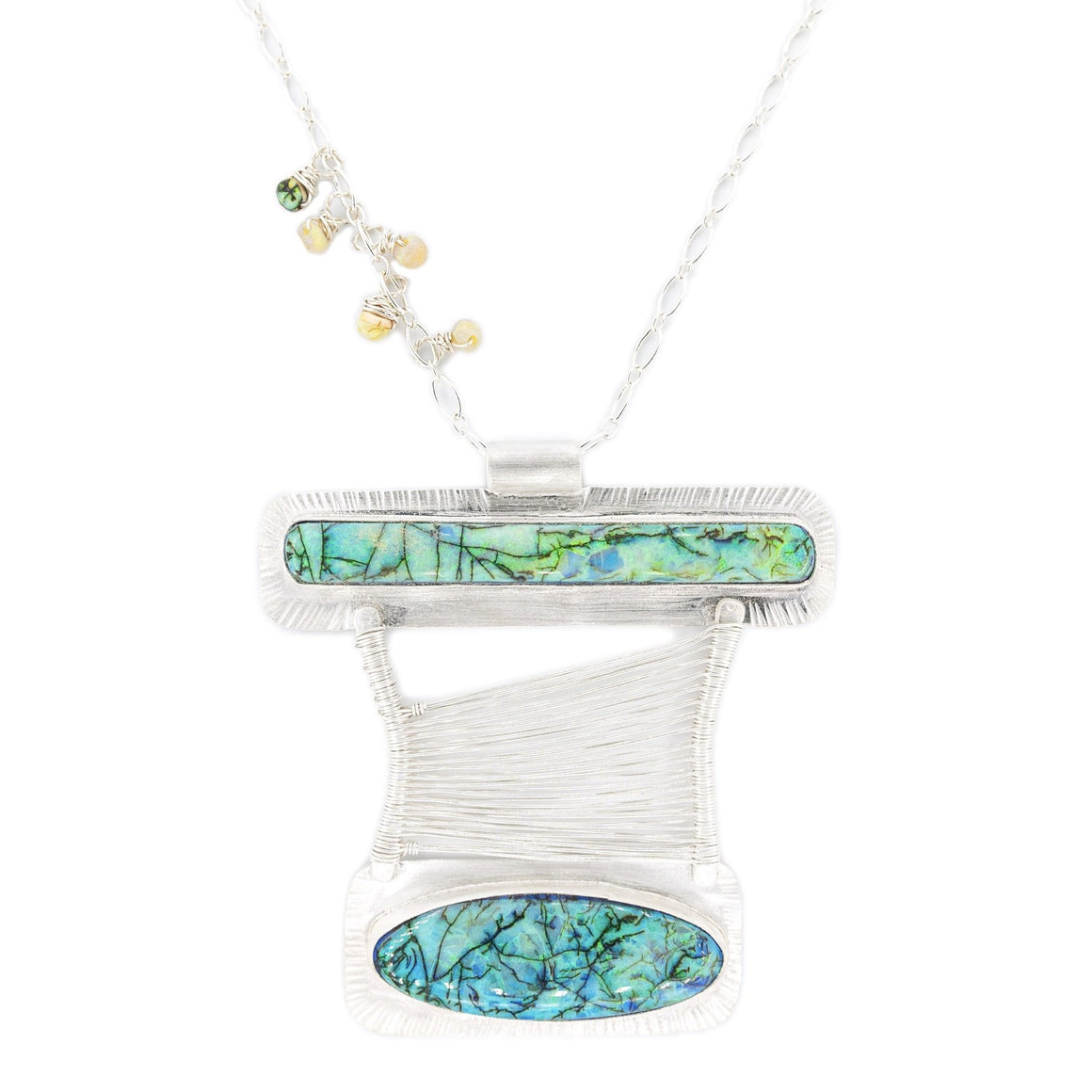 Double Opal Asymmetrical Bridge Pendant by Original Sin Jewelry