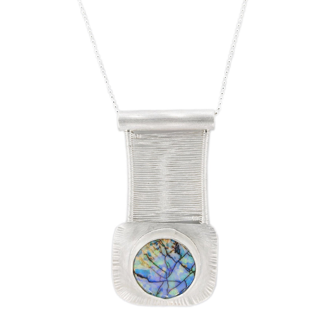 purple blue yellow green orange opal in Original Sin Jewelry's Bridge style  in silver with silver chain