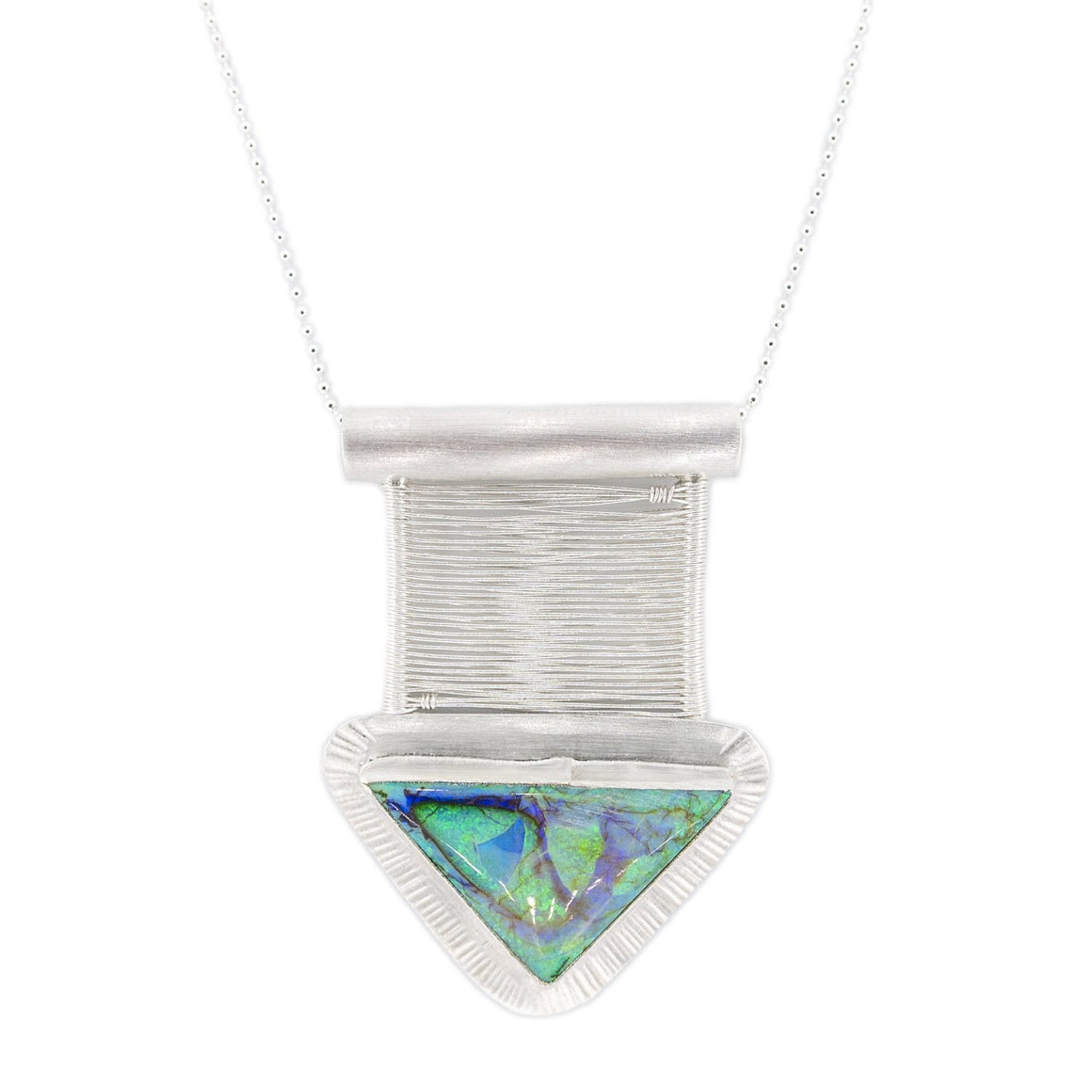 Green and Purple flashy opal in woven Bridge Style by Original Sin Jewelry silver pendant and necklace