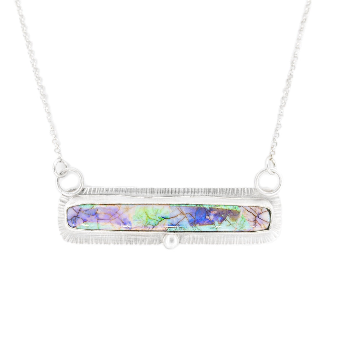 silver bar necklace with Monarch Opal by Original Sin Jewelry