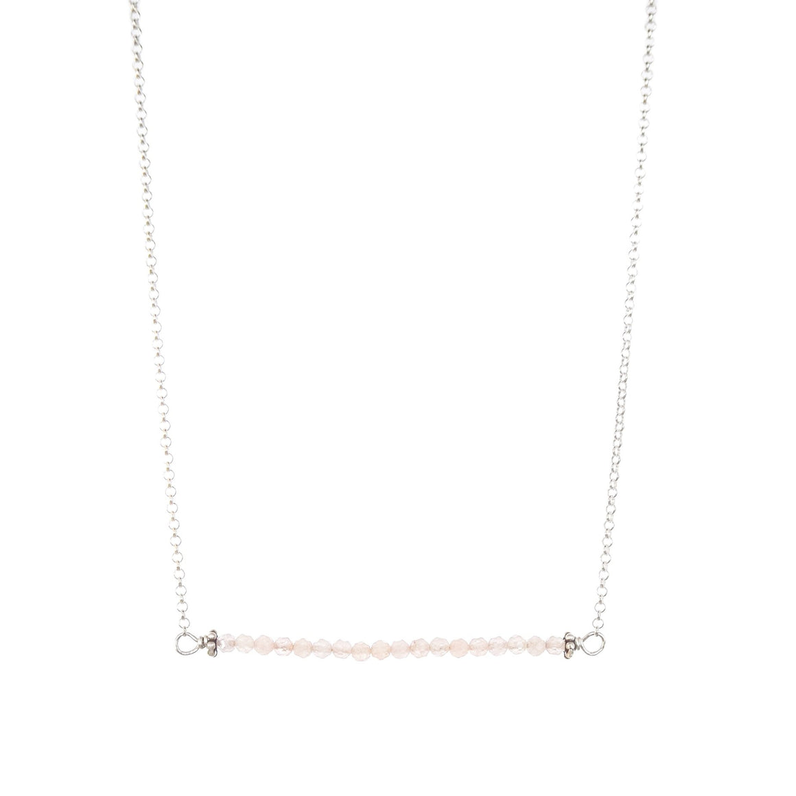 easy layering morganite bar necklace in silver of gold by OSJ in Tucson AZ