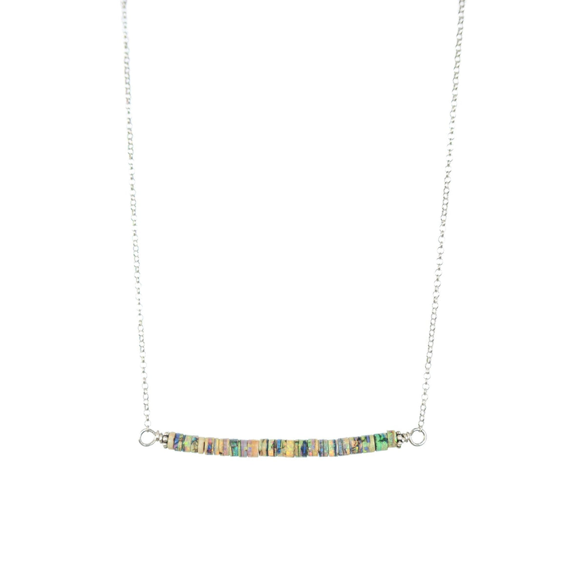 Simple modern minimalist opal rondel bar necklace Balance by Original Sin Jewelry in Tucson AZ