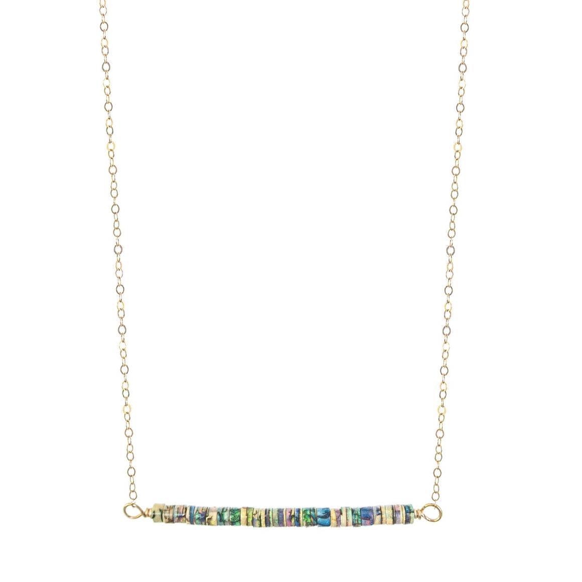 14k gold fill chain on opal rondel bead bar Balance necklace by Original Sin Jewelry