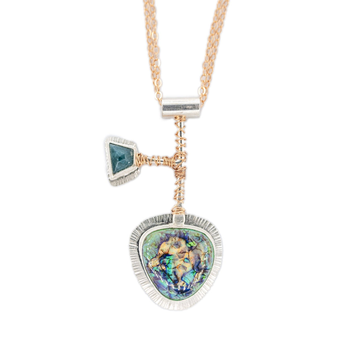 Monarch Opal and Grandedierite silver and rose gold pendant on mixed metal long necklace by Original Sin Jewelry