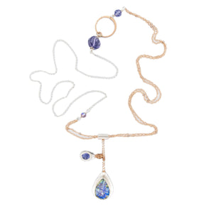 Mixed metal Rose Gold and Silver Opal, Tanzanite and Swarovski crystal long necklace by Original Sin Jewelry in Tucson Arizona