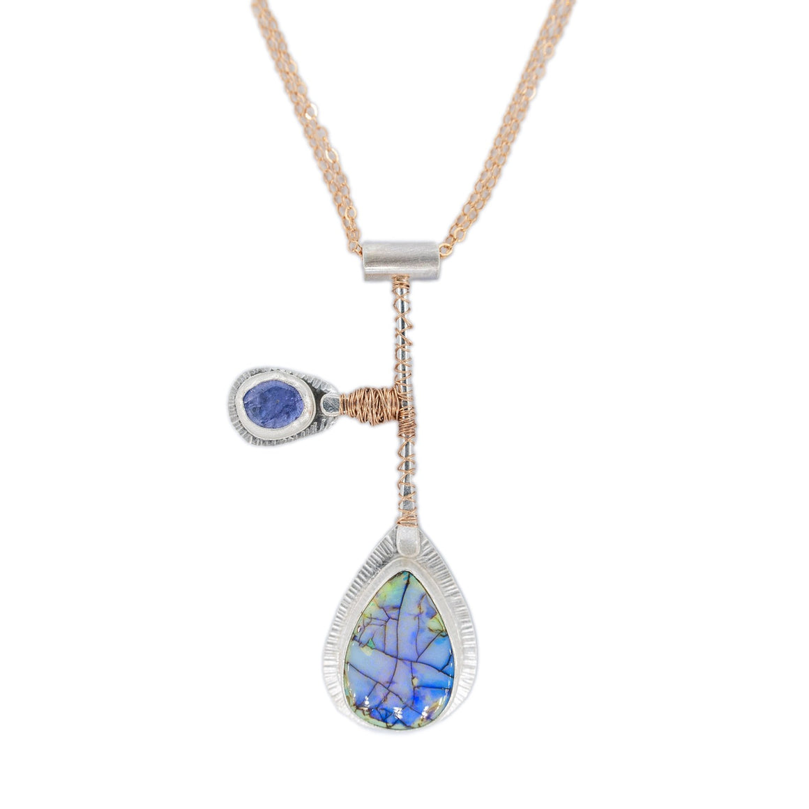 Monarch Opal and Tanzanite Silver Pendant with Rose Gold wire and Mixed Metal chains Fancy Pendulum by Original Sin Jewelry