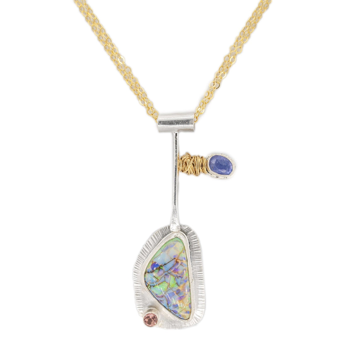opal tourmaline tanzanite fine silver pendant with gold wire nest on long mixed metal chain by Original Sin Jewelry