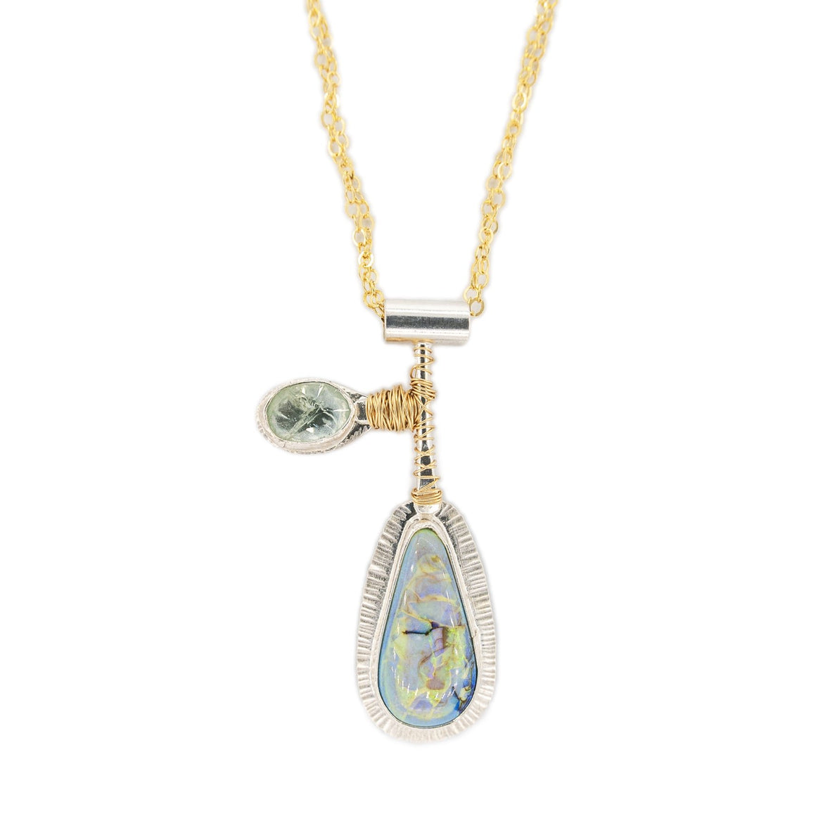 opal and heliodor silver pendant with gold wire accent on mixed metal long chain by Original Sin Jewelry