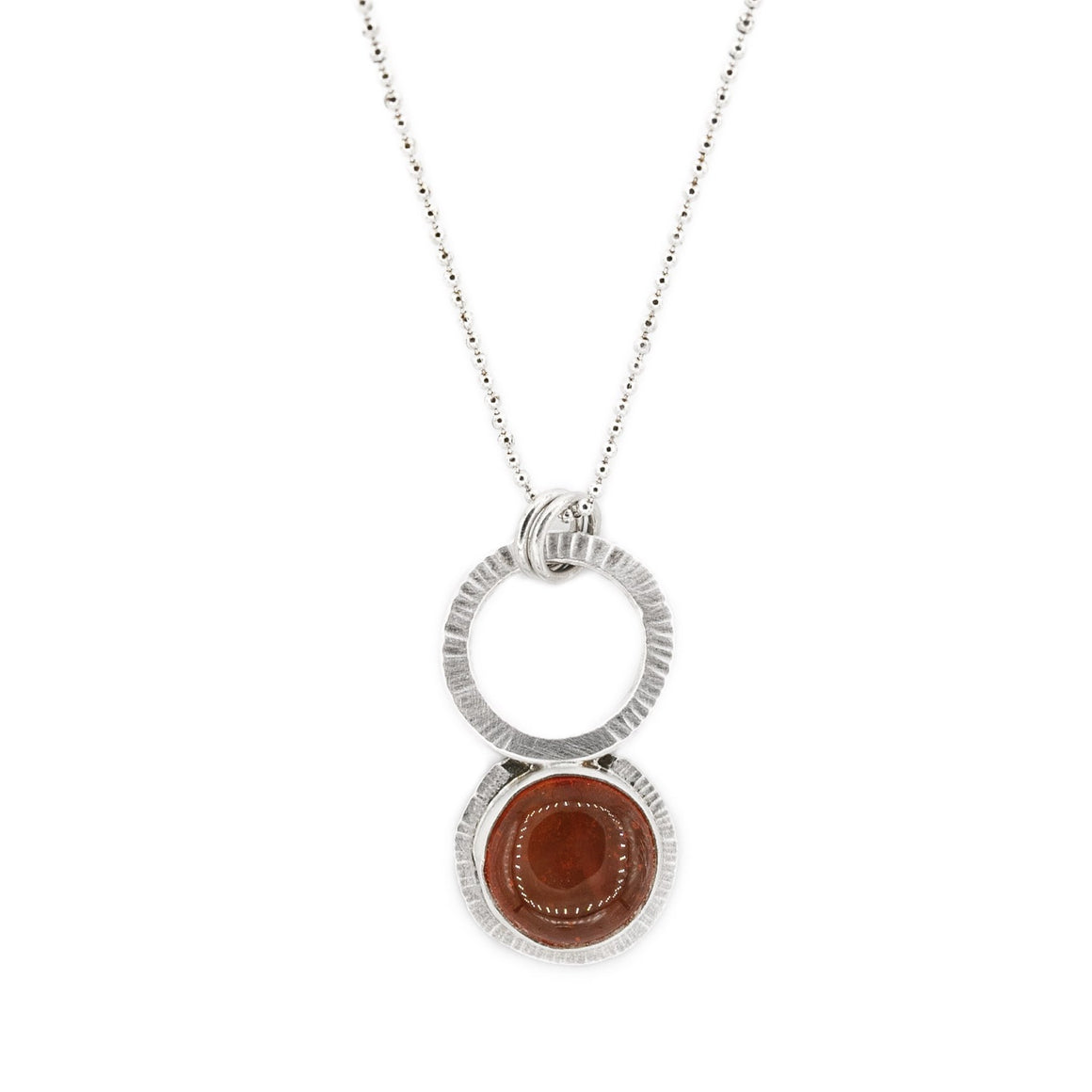 Oregon Fire Opal with Radiant Texture and Circle in Silver by Original Sin Jewelry