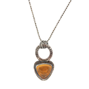 Fire Opal in Oxidized Silver Pendant on Oxidized Silver Ball Chain by Original Sin Jewelry