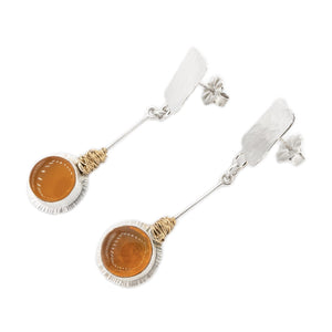 Minimalist Dangle Post Earrings by Original Sin Jewelry in Silver and Gold Mixed Metals with Orange Oregon Fire Opals
