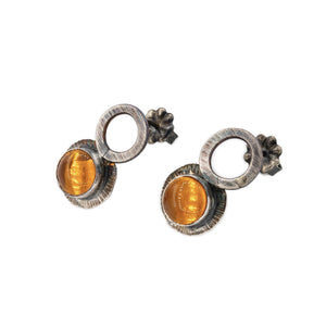 Oxidized silver earrings with circle drop and Oregon fire opal orange with nice ear nuts by Original Sin Jewelry