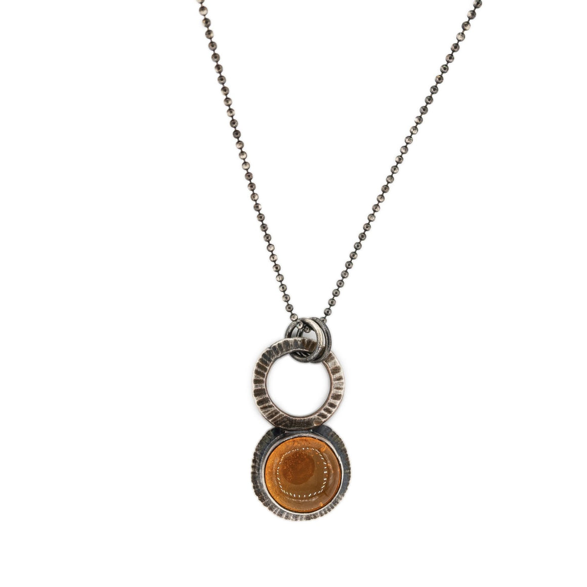 Oregon fire opal in oxidized silver focus necklace simple pendant minimalist style by Original Sin Jewelry